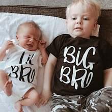 1 предмет, одинаковые футболки для мальчиков и девочек с надписью «Big Bro» и «Lil», «Sibling», комбинезон для новорожденных, малышей, «Big Brother», «Little Brother», «Sibling», комплекты