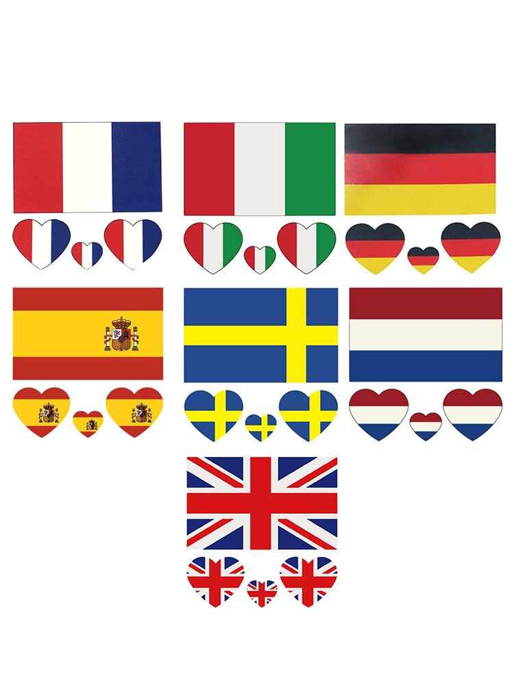 100PC Germany France Italy Netherlands UK Spain Sweden National Flag Tattoo Waterproof Stickers Fans Party European Football Cup