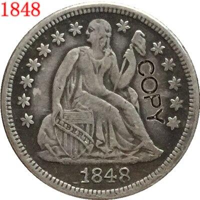 EUA 1848 Sentado Liberdade Dime COPY MOEDAS