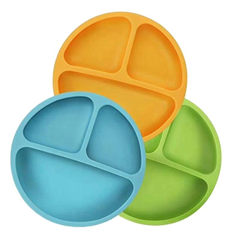 وعاء سيليكون للأطفال مع كوب الشفط ، كوب شفط مكافحة الانقلاب لوحة تغذية الطفل 3 الأصفر والأخضر والأزرق