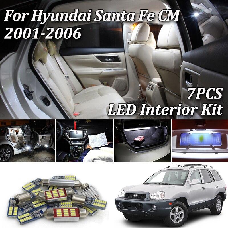 7 Uds Canbus blanco Paquete de luz led interior sin Error para 2001-2006 Hyundai Santafe Santa Fe SM ix45 luz led interior
