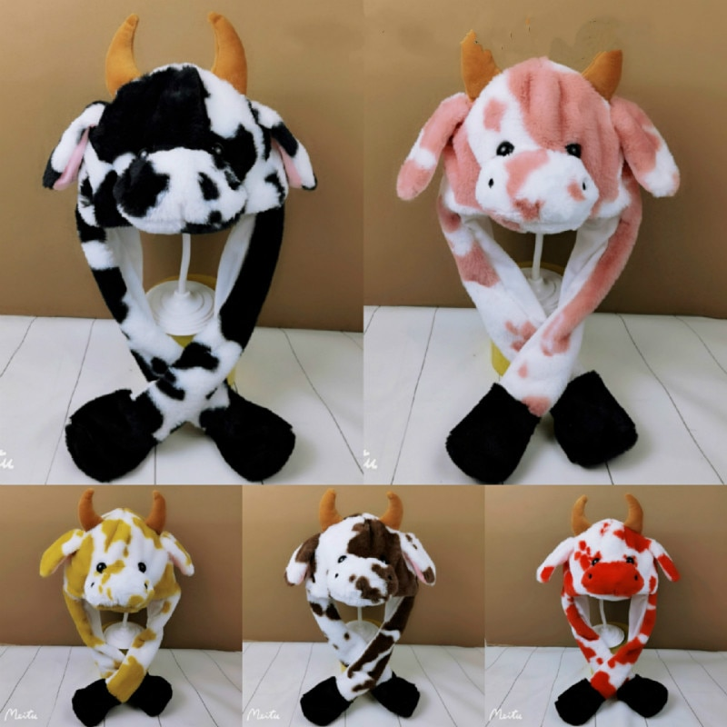 Cow hat Cute Rabbit Hat with light Funny Air Float Filling Ear Moving Cap Cartoon Plush Stuffed Toys Gifts for kids