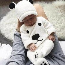 Barboteuse ours dessin animé   En molleton, barboteuse pour bébés garçons filles longues manches, barboteuse ensembles pour bébés, vêtements dhiver pour nourrissons