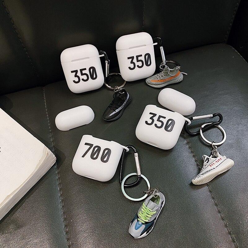 Oferta 350 boost v2 700 Kanye zapato modelo de silicona caso para apple Airpods 1 2 Auriculares inalámbricos con Bluetooth cubierta protectora de auriculares