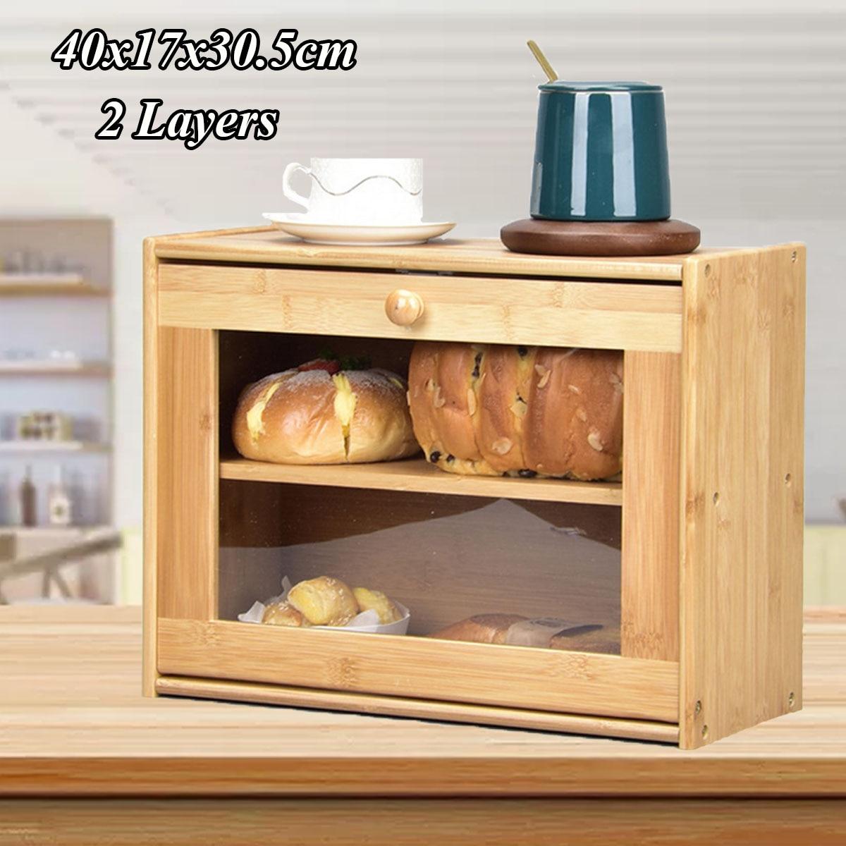 Caja de almacenamiento, caja de pan de bambú, contenedores de comida de doble capa, gaveta grande, organizador de cocina, accesorios para el hogar