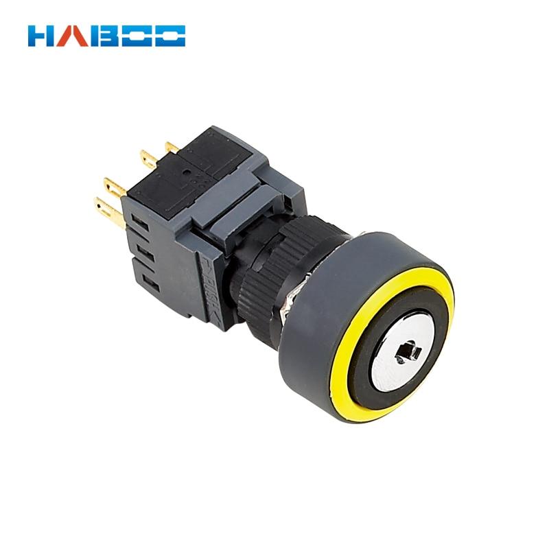 Interruptor de llave de 16mm 2 o 3 posiciones interruptor de botón pulsador 5A 250V IP65