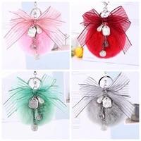 new ribbon bow imitation rex rabbit ball keychain girls joker bag imitation hairy ball keychain hanger
