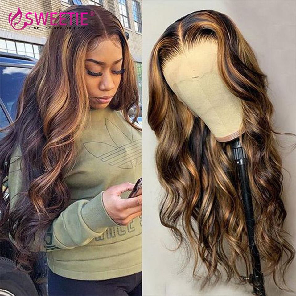 13x1 T Part 4x4 Closure Wig Pre Plucked Highlight Wig 13x4 Lace Front Human Hair Wigs For Women Brazilian Body Wave Frontal Wig