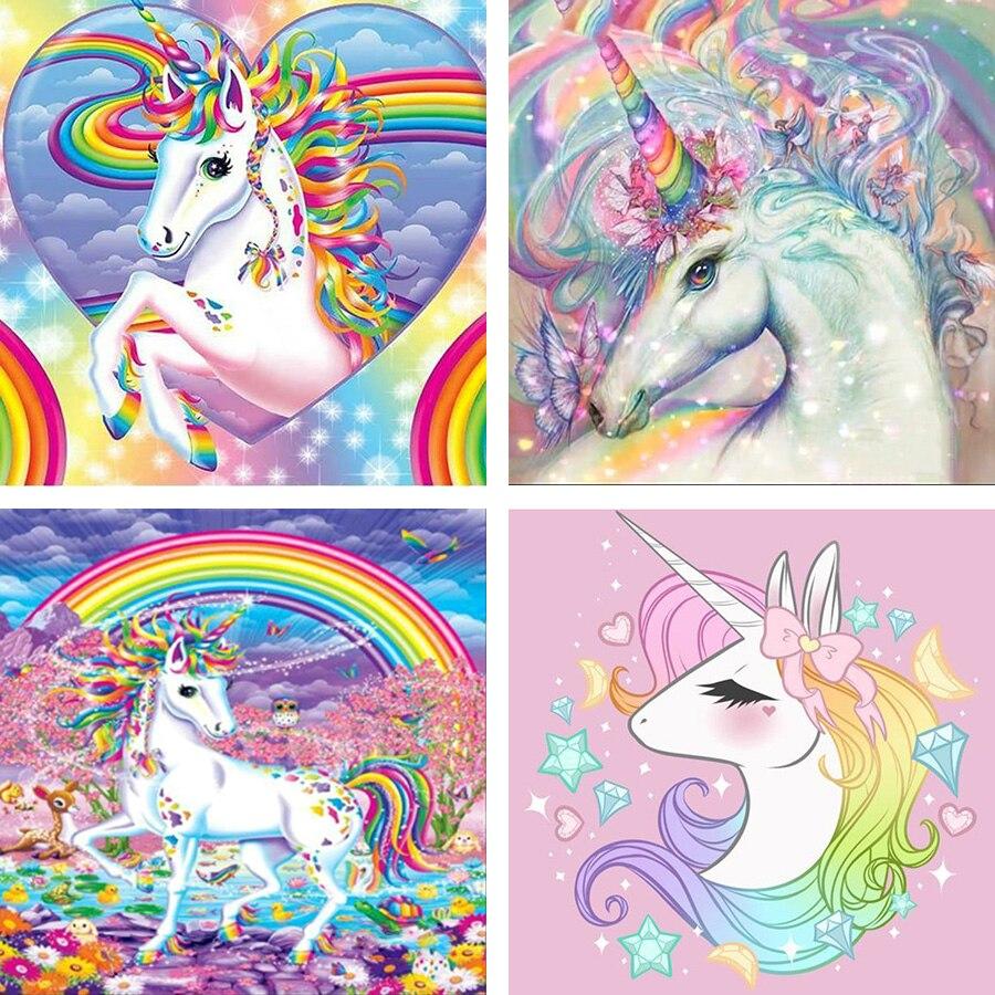 Pintura de diamantes 5D Diy, unicornios del arco iris, punto de cruz, mosaico, pintura de diamantes de imitación, bordado de diamantes de dibujos animados