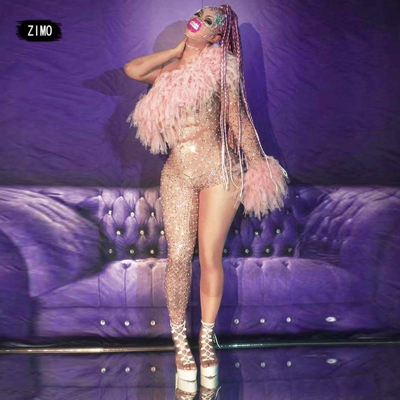 جديد وصول واحد الكتف بذلة المرأة شبكة مثير حجر الراين يوتار مرحلة الرقص أزياء مسرحية السحب الملكة حفلة عيد ميلاد