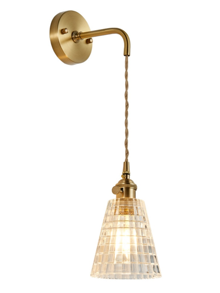 Nordic Modern Glass Copper Wall Lamp Bedroom Bathroom Mirror Stair Light Loft Retro Wall Lights For Home Lighting Wandlamp