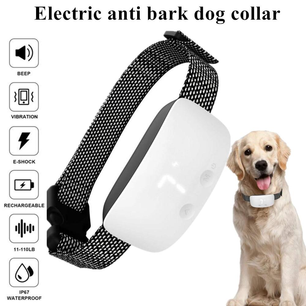 Eléctrica corteza capacitación collar impermeable anti corteza collar de perro señal vibraciones shock 7 Nivel de no ladrar recargable collar 40%