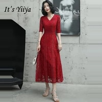 its yiiya evening dresses 2020 v neck burgundy evening dress lace half sleeve plus size formal gowns robe de soiree lf079