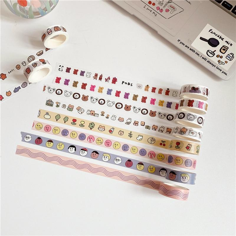 Lindas cintas decorativas de dibujos animados 5m cinta adhesiva creativa de la mano cinta adhesiva de sellado serie Simple coreana Washi Tape