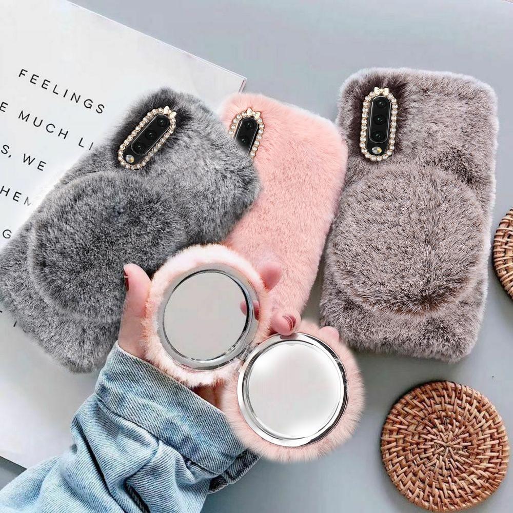 LCHULLE caliente lindo Furry Fluffy caso para Samsung A10 A20 A30 A40 A50 A70 Mirro encantador suave protector de piel de pelo cubierta Coque