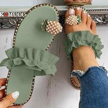 2020 été chaud talon plat femmes dames sandales bague dorteil bohême sandales avec Ananas chaussure plate en plein air vacances diapositives 35-43