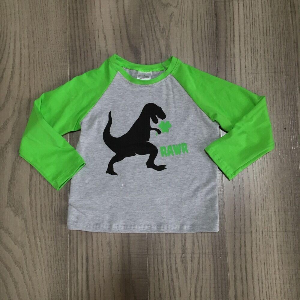 Bebê menino st patrick roupas crianças camisa de manga verde meninos topo com impressão de dinossauro crianças bonito roupas por atacado