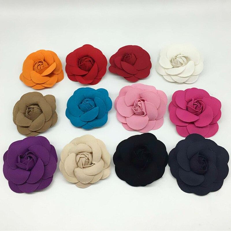 Broche de flores de terciopelo coreano, broche clásico de tela con diseño de Camelia para mujer, accesorios para camisa chal y Collar