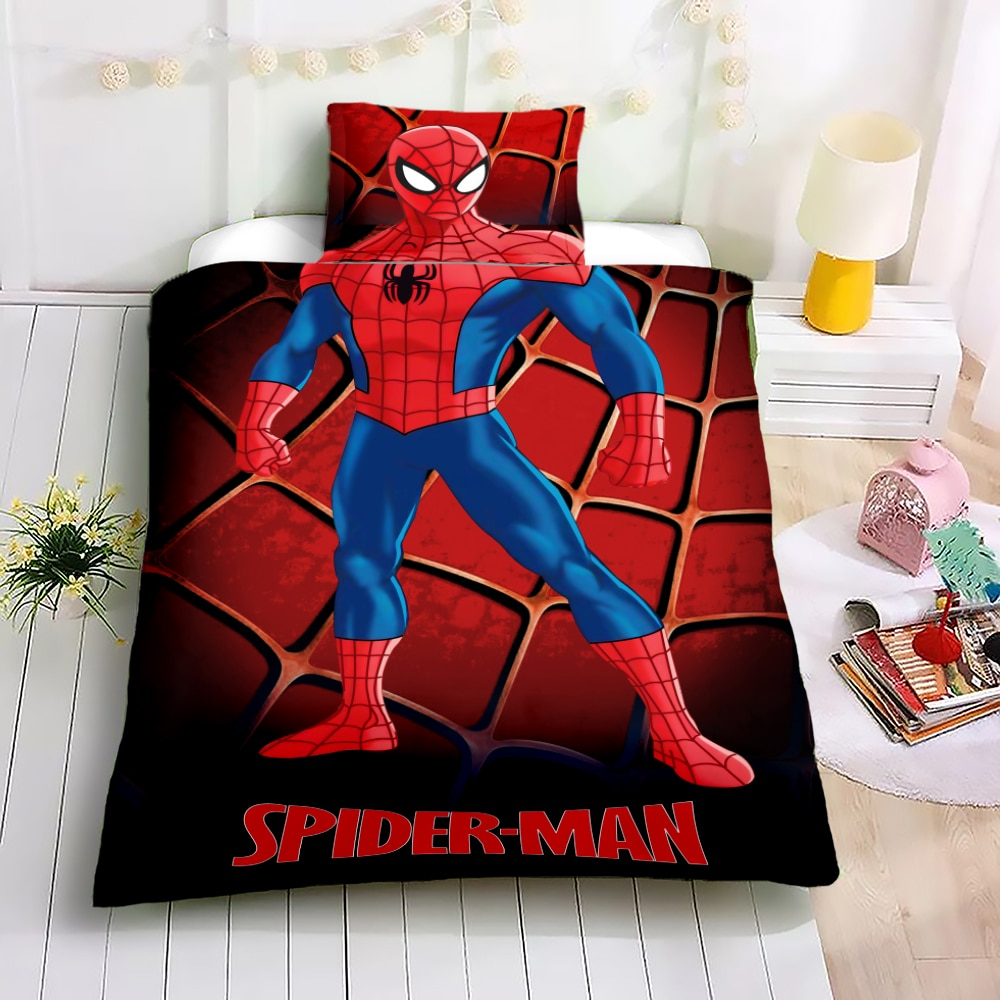 Super Hero Iron Man Duvet Cover Set for Kids Cartoon Anime Spiderman Single Size Bedding Set 3D Quilt Cover Bed Linens 2PCS