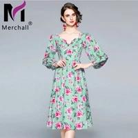 2021 runway elegant autumn spring floral dress female square collar latern sleeve a line flower print midi party dresses m68616