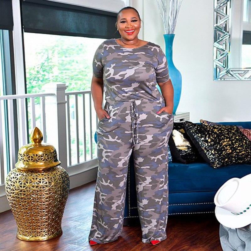 CM.YAYA Frauen Active Wear Camouflage Druck Oansatz Kurzarm Gerade Overall Plus Größe XL-5XL Ein Stück Gesamt Strampler