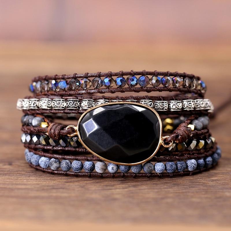 Exclusive Leather Bracelet Black Onyx Mix 5 Strands women and men Wrap Bracelets Bohemian Bracelet gift jewelry  Dropship