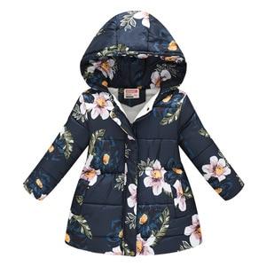 Children Down Jacket Winter Girls Kids Coat Casual Print Long-Sleeve Pockets Hooded Coat Manteau Fille Ropa Bebe куртка детская