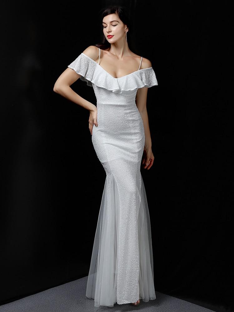 YIDINGZS فستان بحزام أبيض ترتر فستان سهرة عاري الكتفين للنساء فستان رسمي طويل للحفلات