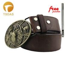 Boucle de ceinture en cerf avec finition laiton Antique   Pour ceinture de largeur de 4cm, boucle de ceinture ovale avec Stock continu