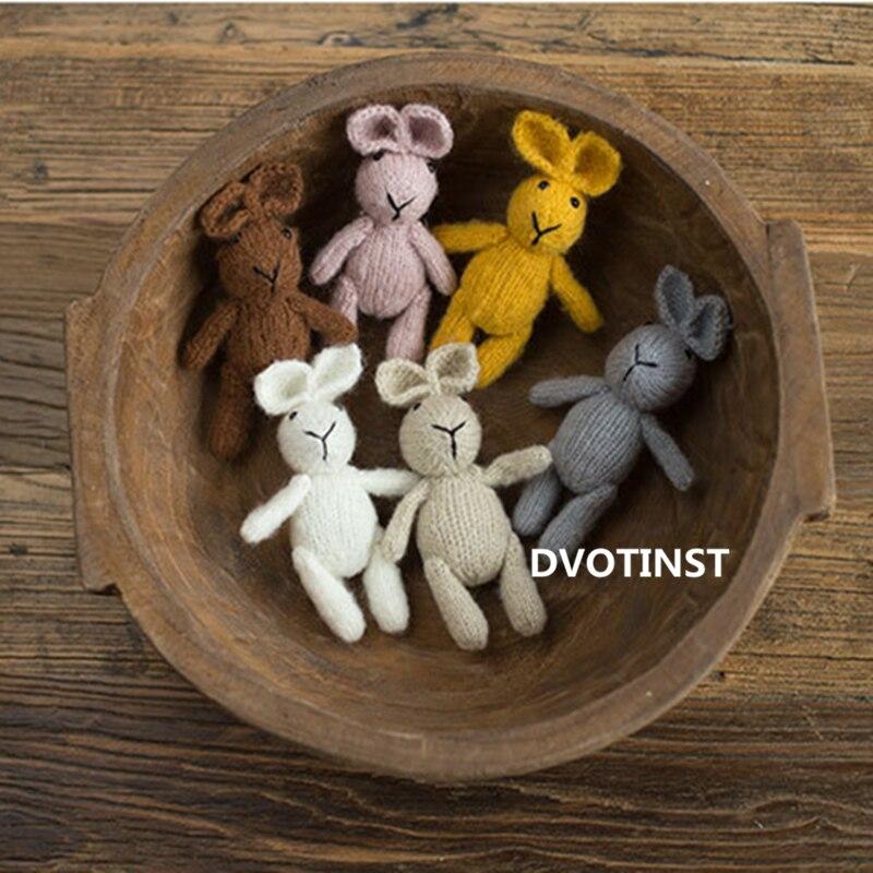 Atrezos para fotografía de bebés recién nacidos de Dvotinst, bonito conejo tejido hecho a mano, accesorios para fotografía, accesorios para sesiones de estudio, accesorios para fotos