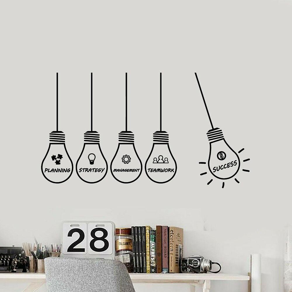 Calcomanía de vinilo para pared de empresa cultura, decoración para habitación de oficina, Idea de gestión de estrategia, lámpara de éxito, pegatinas de arte de la pared, Mural de dormitorio P107
