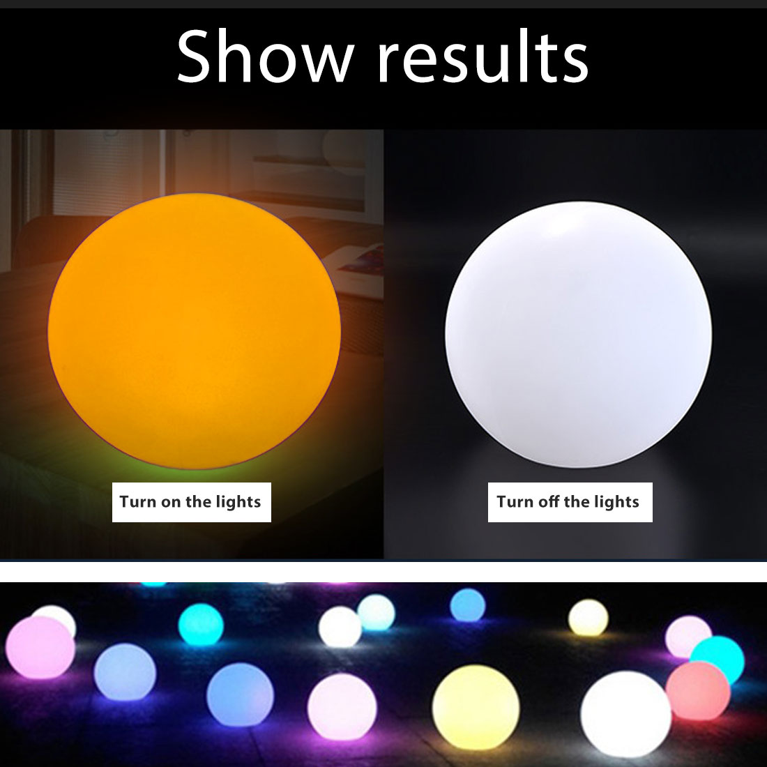 thrisdar 16 color ip68 globe ball garden landscape lawn pathway deck light remote control led swimming pool floating ball light Outdoor Decorative LED Luminous Ball Spherical Lawn Landscape Light Stage Remote Control Colorful Night Light Garden Pool Light