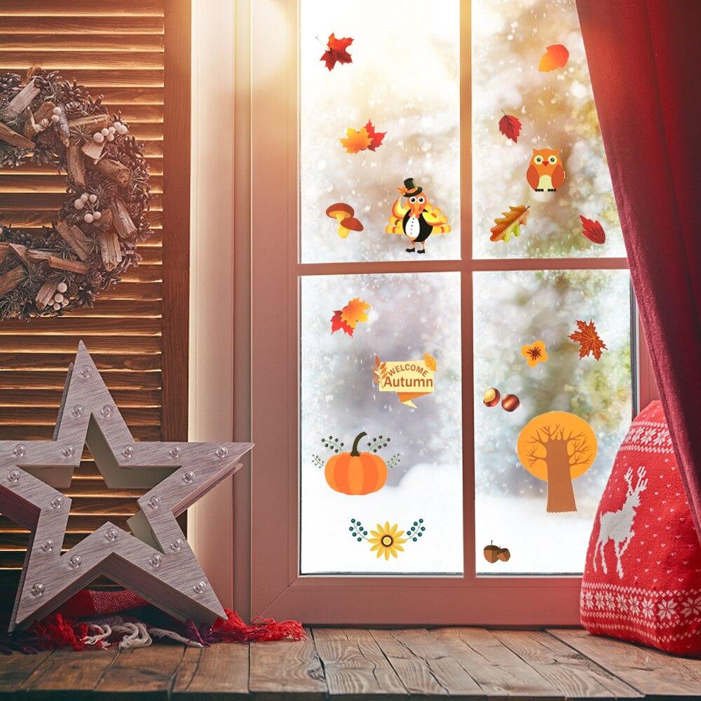 Наклейки на окно на День Благодарения, наклейки с осенними листьями, наклейки на окно, наклейки с осенними листьями, Осенние наклейки на окн...