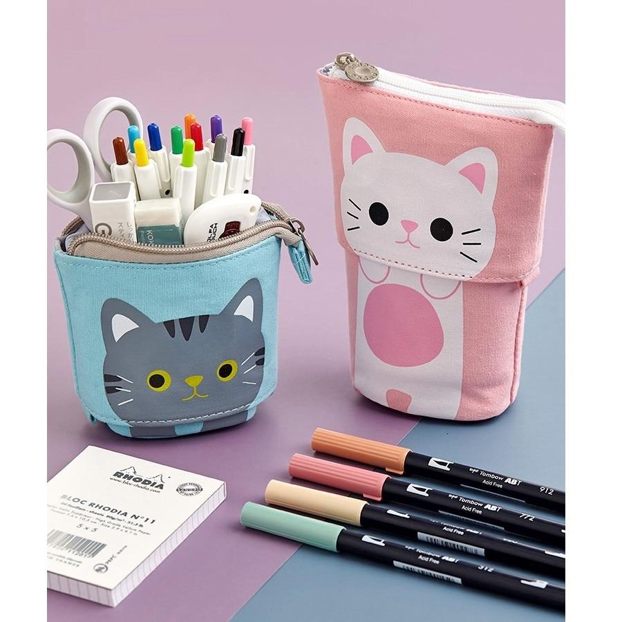 Angoo [Fun] Pen Pencil Bag Case, Cartoon Cute Cat Bear Sheep Canvas Fold Standing Holder Stationery