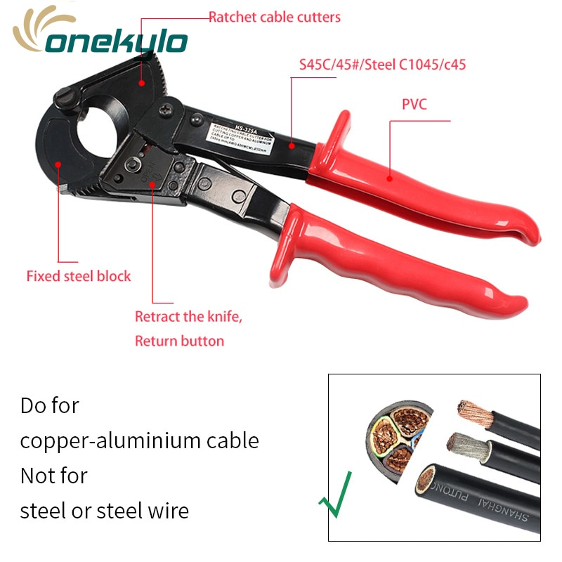 hs 500b forging blade ratchet cable cutter for cutting 400mm2 copper aluminum cables sharp and quick cable cutter hs-325a ratchet cable cutter cable cutting pliers,  plier cutter wire pliers wire cutting pliers cable cutters