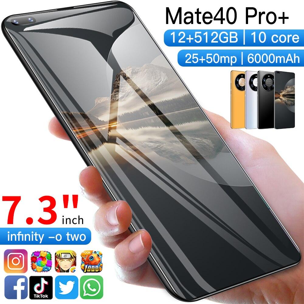 5G 4G Mate40 Pro Big Full HD+ Screen Mobile Phones 12GB  512GB Android 10.0 System Deca Core Dual Sim Card Smartphones