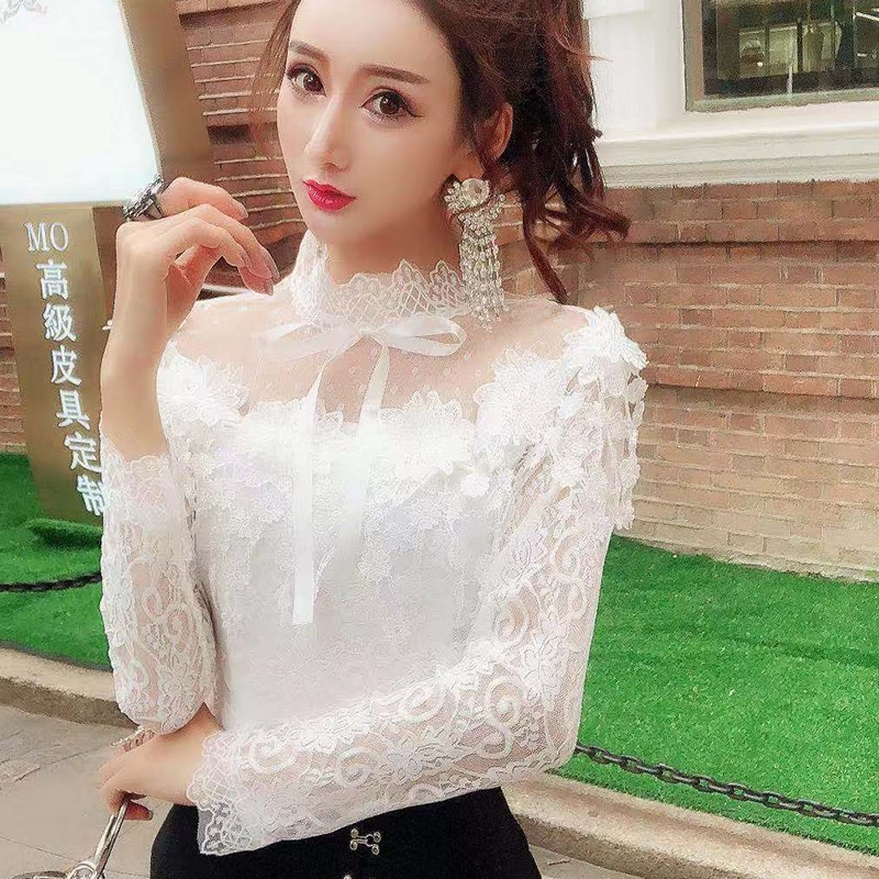 Camisas femininas rendas manga longa blusa doce floral oco laço camisa feminina laço malha blusas 2020 primavera de fundo topos outono