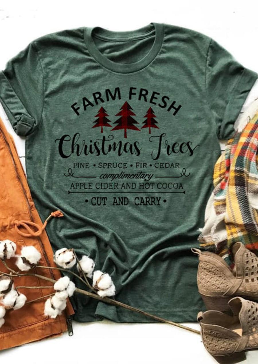 Рождественская футболка, зеленые топы, женские футболки с круглым вырезом и коротким рукавом, новинка 2020, Рождественский топ, повседневная ...