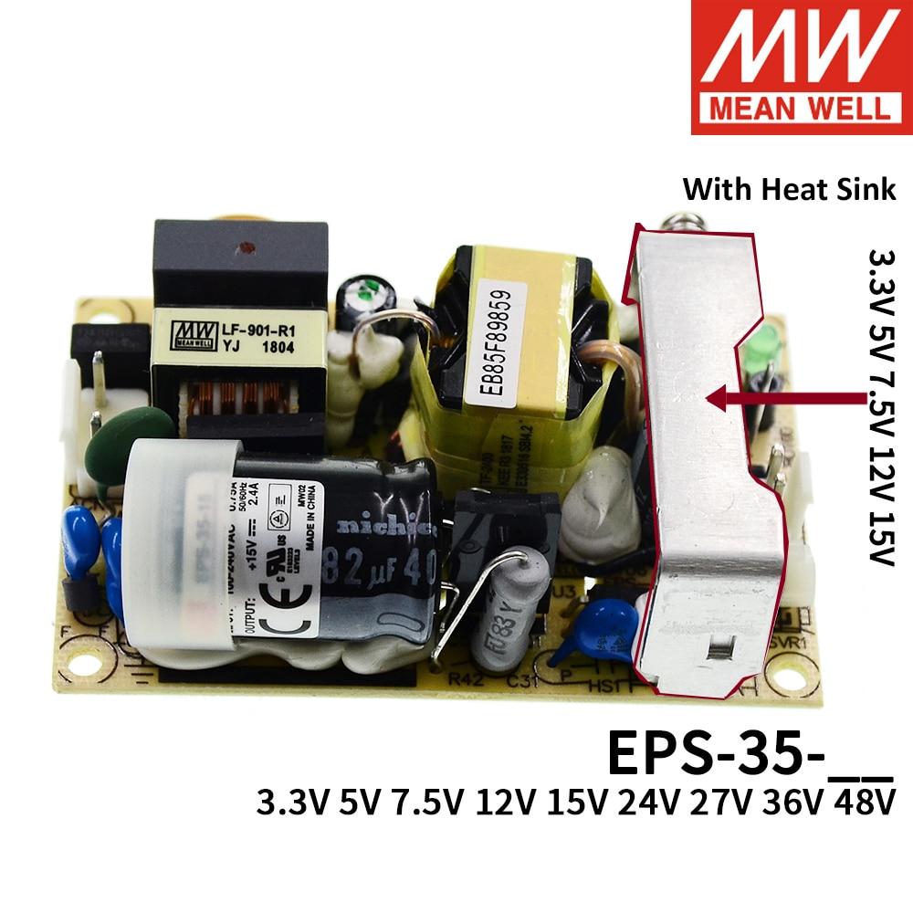 يعني حسنا EPS-35 إخراج واحدة PSU مفتوحة إطار ac-dc امدادات الطاقة 35W 3.3V 5V 7.5V 12V 15V 24V 27V 36V 48V 6A 1A 3A البسيطة حجم