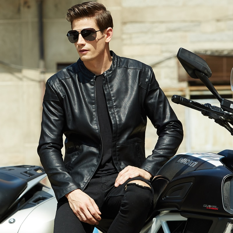 Куртка мужская демисезонная из ПУ кожи, с воротником-стойкой
