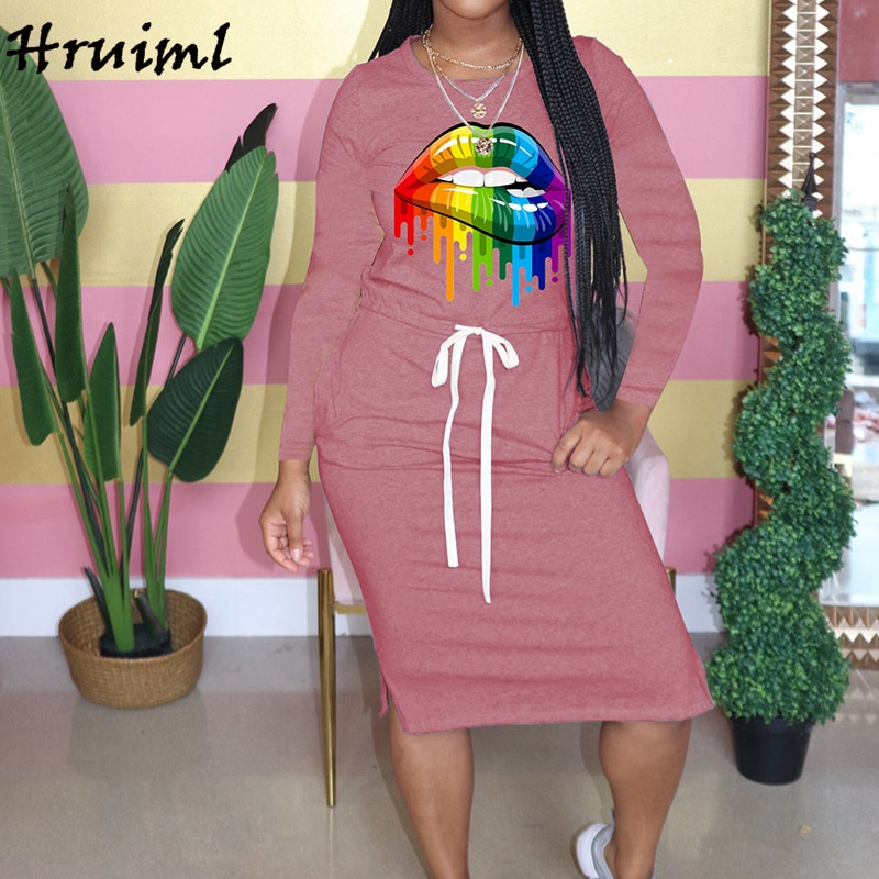 Casual Women Dress Autumn Big Lip Print Drawstring Long Sleeve O Neck Solid Maxi Dress Fashion Pocket Plus Size Dress Ropa Mujer