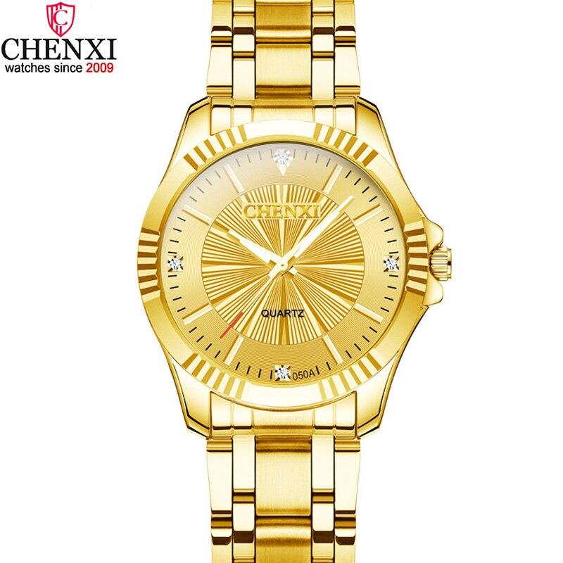 Marca chenxi luxo mulher relógio de ouro à prova delegant água elegante senhora negócios relógios minimalismo casual quartzo feminino relógio de pulso dourado