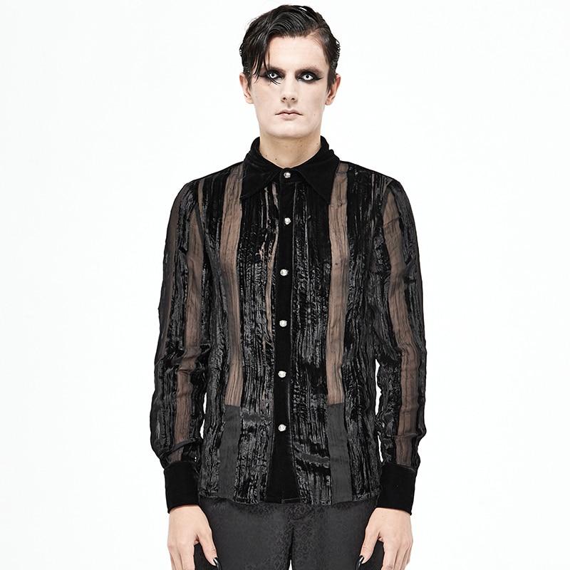 Gothic Men's Shirt Hollow Striped Sexy Shirt Button Stand Collar Long Sleeve