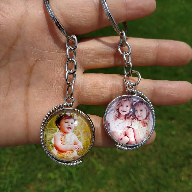 Llavero personalizado giratorio de doble cara, bonito llavero personalizado para bebés, amantes de la familia, foto, fecha especial, llaveros personalizados