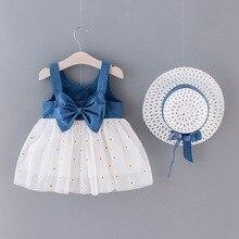 2020 جديد بنات الدينيم الدانتيل فستان الأميرة قبعة الصيف الرضع الاطفال حزام فساتين حفلات الزفاف ملابس قطنية للأطفال للفتيات