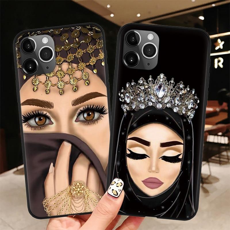 Luxo mulher coroa hijab rosto muçulmano islâmico gril olhos capa para iphone 11 pro max x 6 s 7 8 plus xr xs max 5 se 2020 caso de telefone