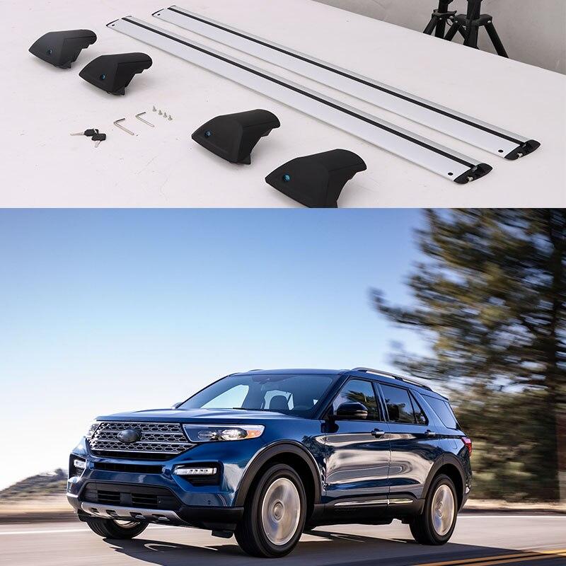 Barras cruzadas de 2 piezas, ajuste Universal para Ford Explorer 2020 2021, barras cruzadas para equipaje, portaequipajes