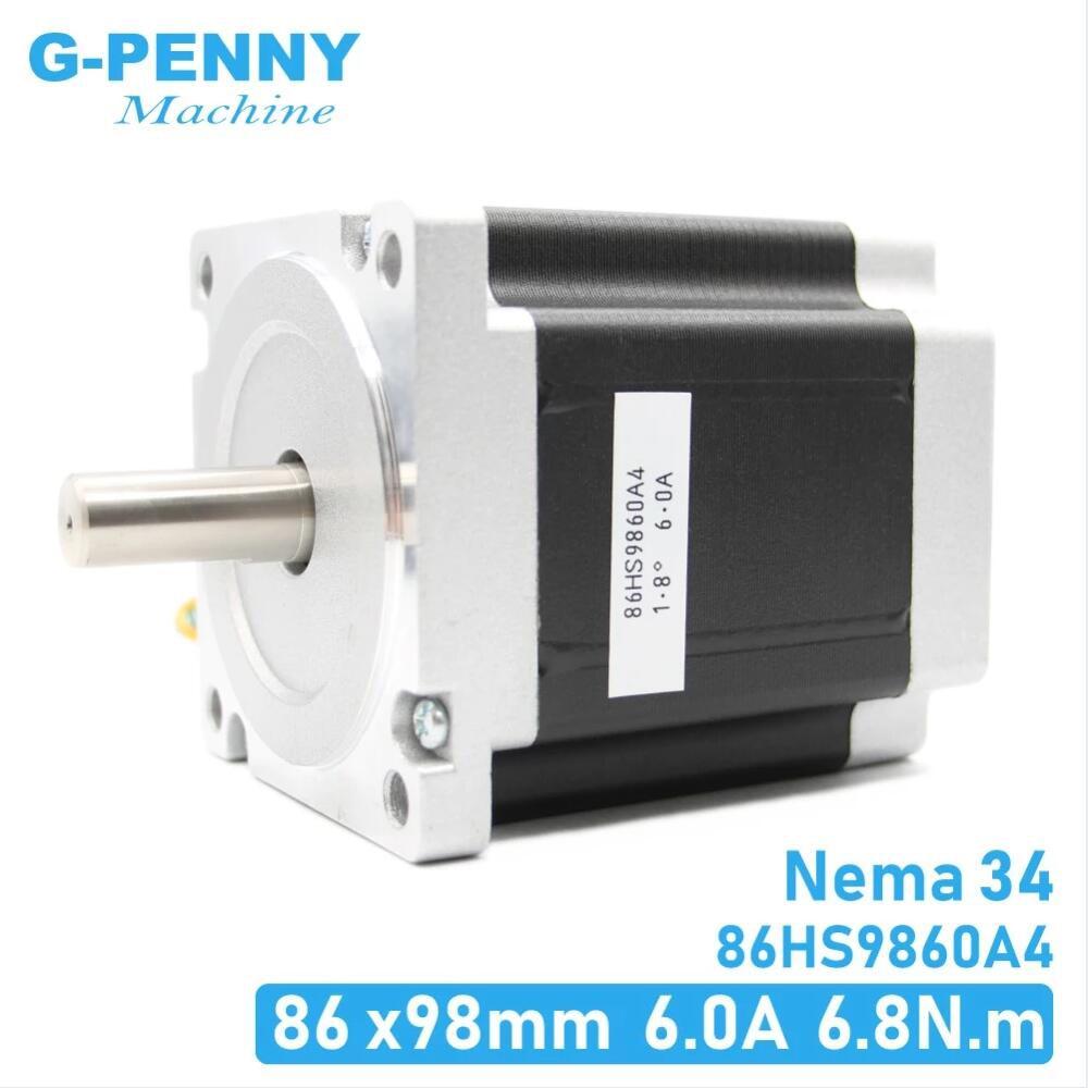 NEMA 34 CNC محرك متدرج ، 86X98mm 7.0N.m 6A D14mm محرك متدرج 972Oz-in لآلة النقش CNC والطابعة ثلاثية الأبعاد!