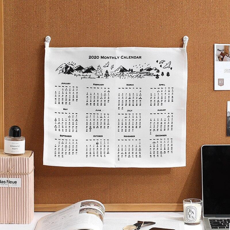 2020 calendario de pared Simple tapiz de puerta de pared calendario blanco colgante de lino de algodón decoración creativa tapiz de oficina escolar