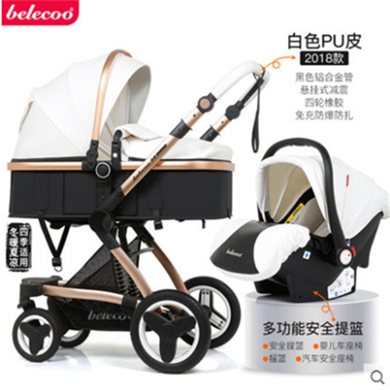 Belecoo Luxury Baby Stroller 3 in 1 Carriage High Landscape Pram Suite for Lying and Seating